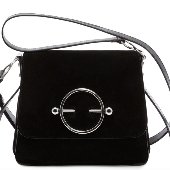 J.W. Anderson Handbags - J W ANDERSON BLACK SUEDE AND LEATHER DISC BAG